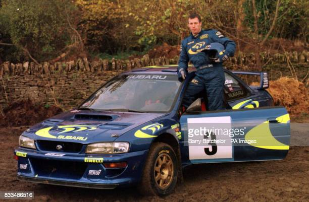File image dated Colin McRae with his Subaru at Great Tew Oxfordshire
