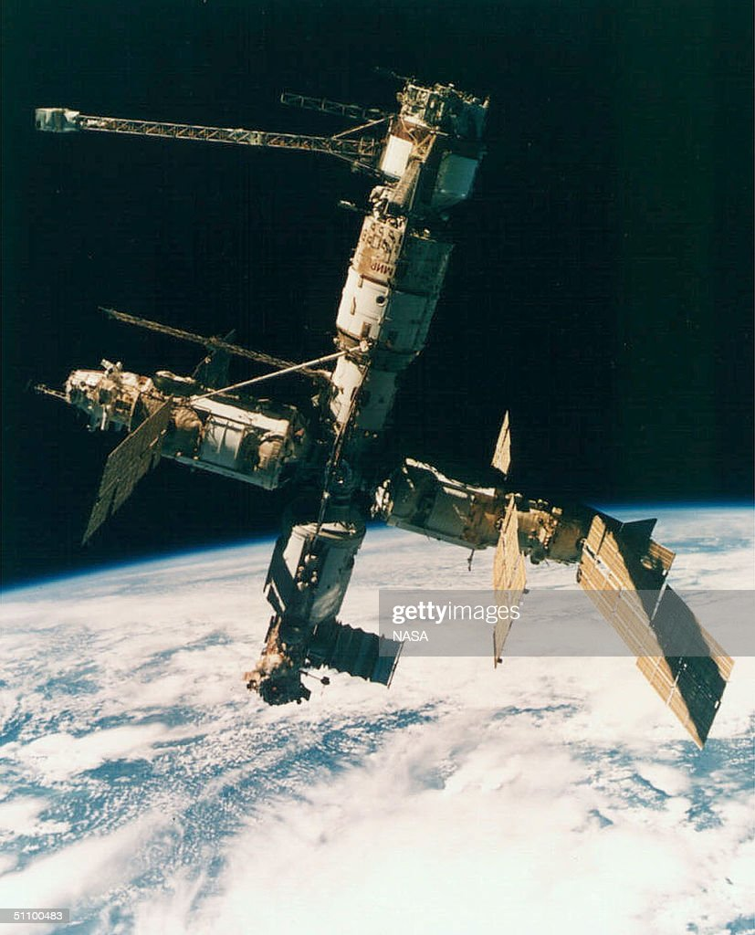 A View Of Russia's Mir Space Station Photographed By The Mir19 Crew On July 4 1995 On August 28 1999 After 13 1/2 Years More Than 77000 Loops Around...