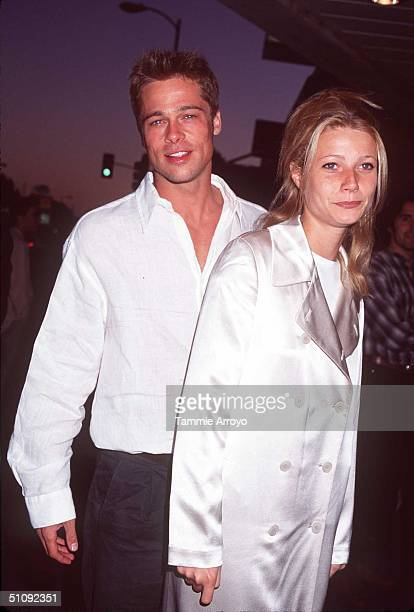 File Photo Brad Pitt And Girlfriend Gwyneth Paltrow At The Premiere Of 'Oblivion' In Los Angeles California July 11 1995 On July 27 It Has Been...