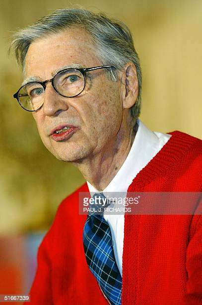 File photo dated 03 April 2002 shows legendary children's television star Fred Rogers of 'Mister Rogers' Neighborhood' endorsind the PBS television...