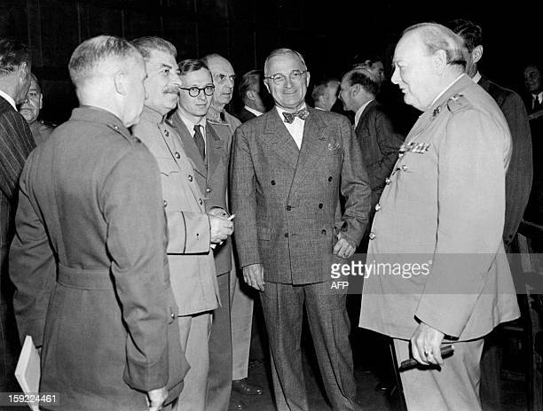 File photo dated 17 July 1945 shows British Premier Winston Churchill US President Harry Truman and Russian leader Joseph Stalin at the Potsdam...