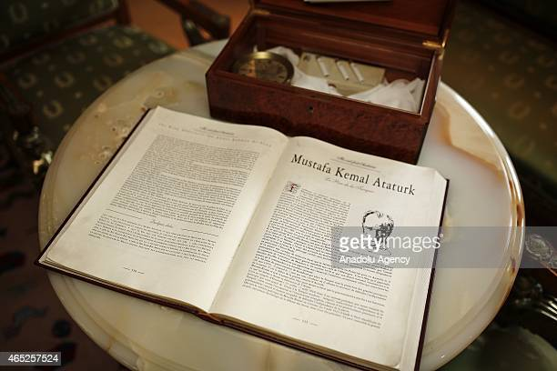 File photo dated shows a suite dedicated to Mustafa Kemal Ataturk which is furnished with many of his personal belongings at the MV Savarona the...