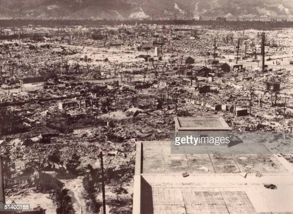 A file photo dated 1945 of the devastated city of Hiroshima after the first atomic bomb was dropped by a US Air Force B29 06 August 1945
