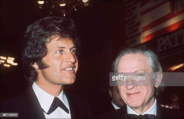 File photo dated in April 1971 shows American film director Jules Dassin and of his son singer Joe Dassin at the Olympia concert hall in Paris during...