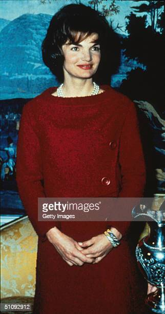 File Photo First Lady Jacqueline Kennedy Wears A Chez Ninon TwoPiece Day Dress February 14 1962 During A Nationally Televised Valentine's Day Tour Of...