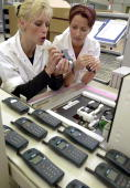 A file photo from July 21st 2000 showing a section of the mobile phone production area at Siemens Telephone Works in Leipzig eastern Germany The...