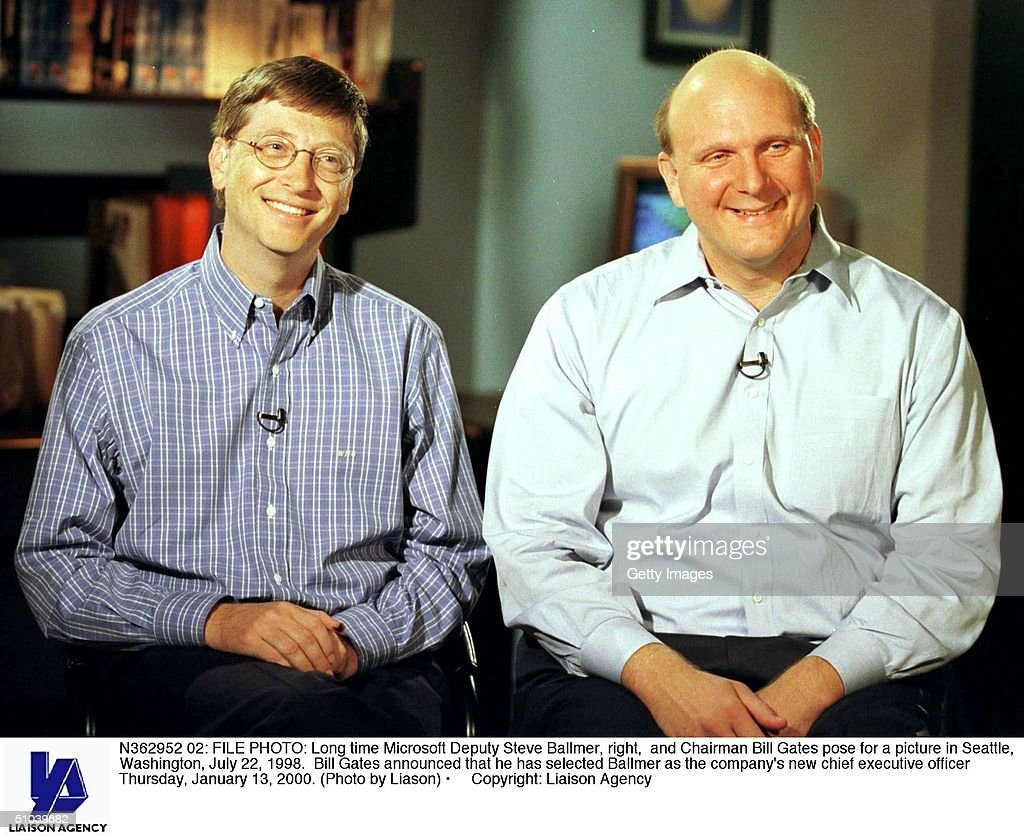 File Photo Long Time Microsoft Deputy Steve Ballmer Right And Chairman Bill Gates Pose For A Picture In Seattle Washington July 22 1998 Bill Gates...