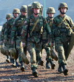 A file photo taken 12 December 2006 shows Georgian soldiers during military exercises at the Osiauri range some 20 kms from the South Ossetian border...