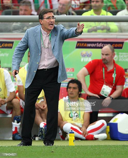 A file photo taken 17 June 2006 shows Croatian head coach of the Iranian team Branko Ivankovic gesturing during the World Cup 2006 group D football...