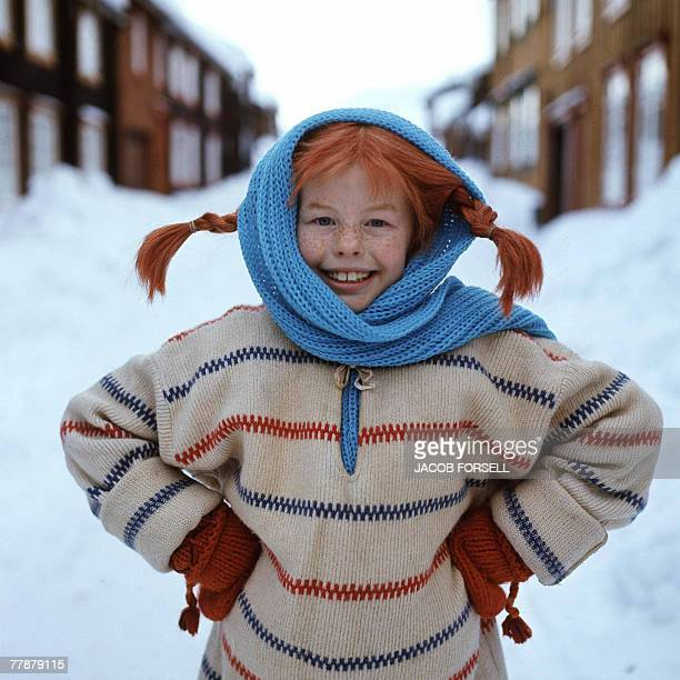 A file photo taken 23 February 1968 shows a still from the movie 'Pippi Longstocking' with Inger Nilsson as Pippi Swedish writer Astrid Lindgren who...