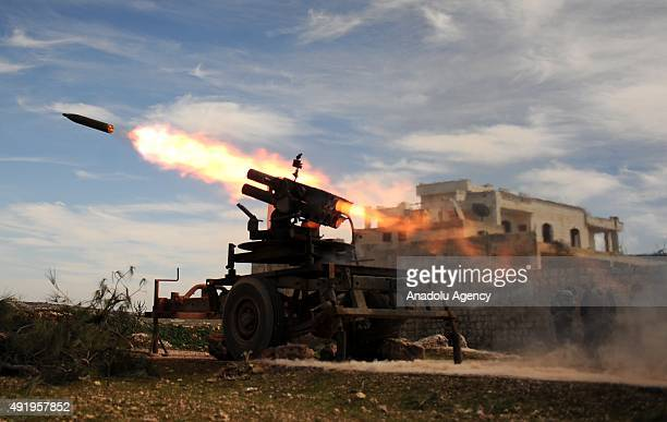 A file photo taken by AA photojournalist Saleh Mahmoud Laila shows a rocket fired towards forces loyal to Assad regime by members of Syrian...