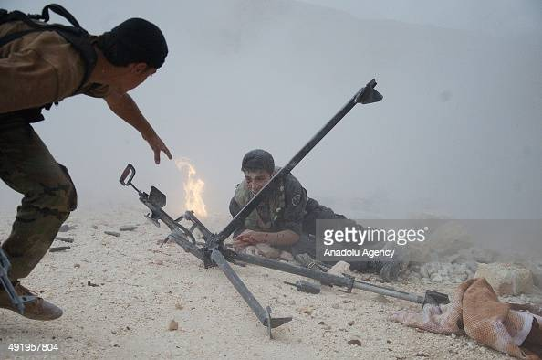 A file photo taken by AA photojournalist Saleh Mahmoud Laila shows members of Free Syrian Army during the clashes against Syrian regime forces in...