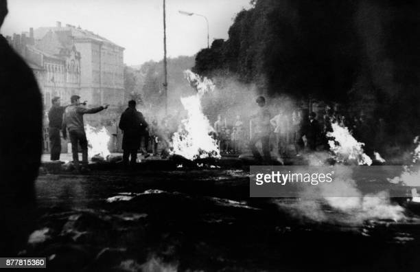 File photo taken in August 1968 in Prague during confrontations between demonstrators and the Warsaw Pact troops and tanks who invaded Czechoslovakia...
