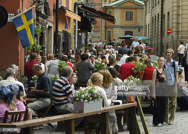 A file photo taken in June 2003 shows restaurants in Stockholm's Old City where it is hard to find a place during the summer tourism season Tourism...