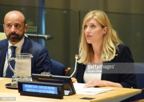 File photo taken in September 2017 at the UN headquarters in New York shows Beatrice Fihn executive director of the International Coalition to...