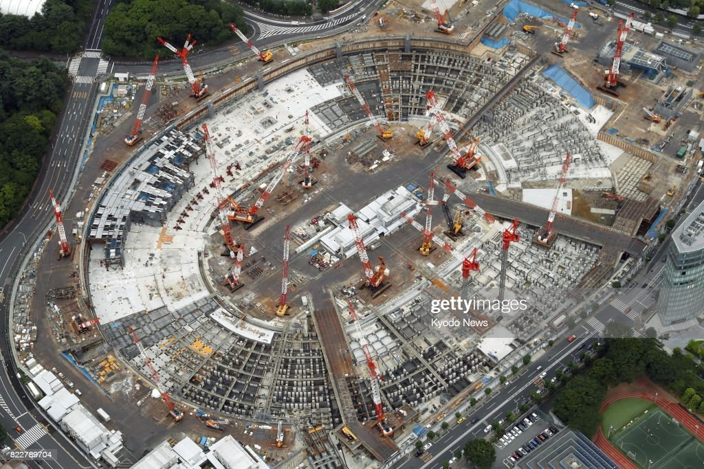 File photo taken July 23, 2017, shows the new National Stadium in Tokyo being built for the 2020 Tokyo Olympics. It was reported on July 26 that the stadium is planned to be used exclusively for team ball sports like soccer and rugby after the games. ==Kyodo