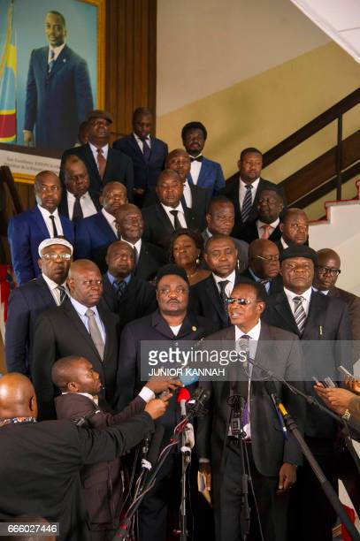 A file photo taken on April 4 2017 shows a group of Congolese opposition figures among which on the first row is Roger Lumbala newly elected Prime...