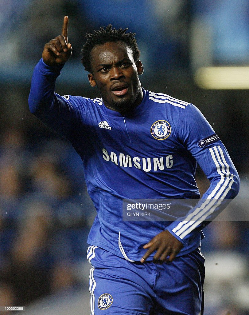 - A file photo taken on December 8, 2009 shows Chelsea's Ghanaian midfielder Michael Essien celebrating after scoring a goal during the UEFA Champions League Group D match against Apoel Nicosia at Stamford Bridge, in London.