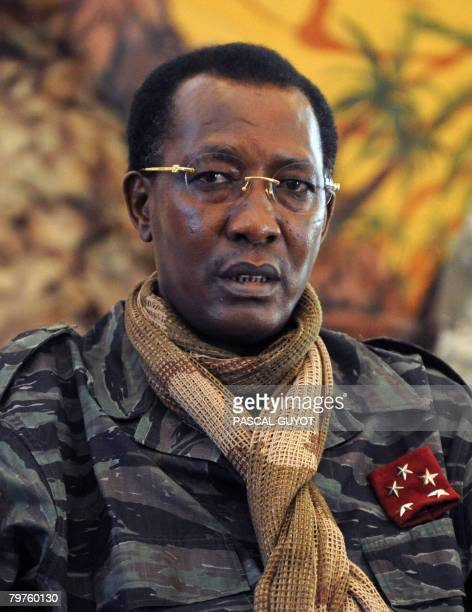 File photo taken on February 6 2008 shows Chadian President Idriss Deby answering journalists' questions after a meeting with French Defence Minister...