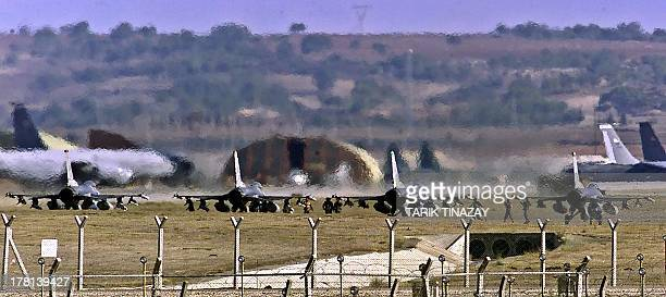 A file photo taken on January 10 2001 shows US airforce F16 warplanes lining to take off from the Incirlik Airbase The United States would like to...