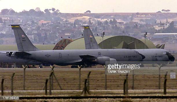 A file photo taken on January 11 2005 shows US airforce tanker planes lining to take off from the Incirlik Airbase southern Turkey for a daily...