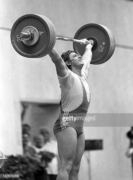 OUT A file photo taken on July 27 1980 shows Hungarian Olympic winner Peter Baczako on his way to the gold medal during the final of 90kgs category...
