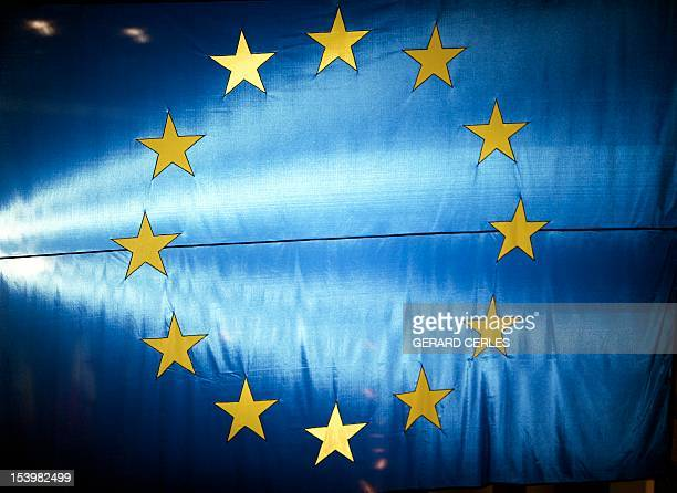 A file photo taken on November 14 2006 shows the European Union flag lighting at the European Parliament in Strasbourg eastern France The Nobel Peace...