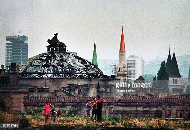 The National Library With A Broken Glass Roof Is Shown In Summer 1999 In Sarajevo Bosnian Olympic Committee Announced On 15Th Anniversary Of The 1984...