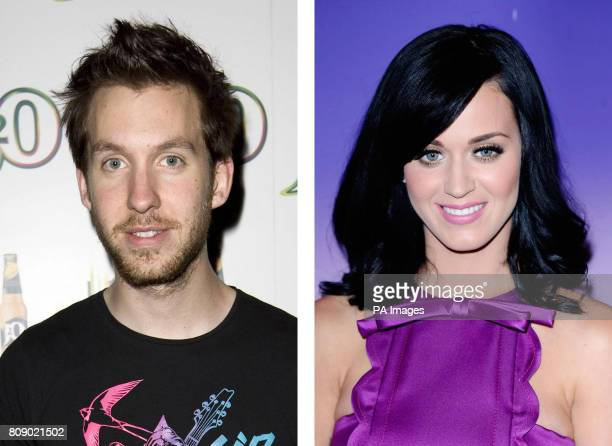 File photos of Calvin Harris and Katy Perry as the DJ has apologised after getting caught up in an online row when he pulled out of her tour