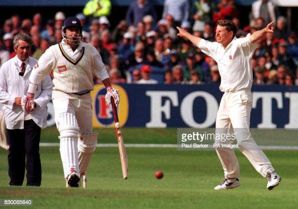 File picture dated 9/6/98 of Essex Bowler Peter Such appealing the wicket of Yorkshire's Darren Lehmann during their Benson and Hedges Cup semifinal...