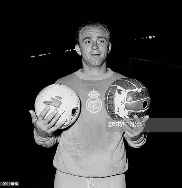 File picture dated June 12 1956 shows Argentinianborn Spanish forward Alfredo Di Stefano in Paris Born in Buenos Aires Di Stefano became one of the...