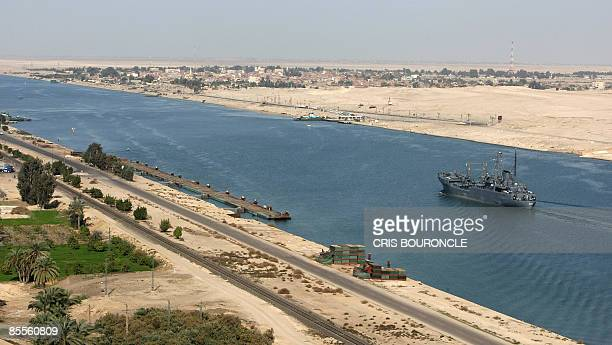 File picture dated November 24 2008 shows an Egyptian patrol ship navigating in the Suez Canal between Port Said and Ismailia about 100 kms northeast...