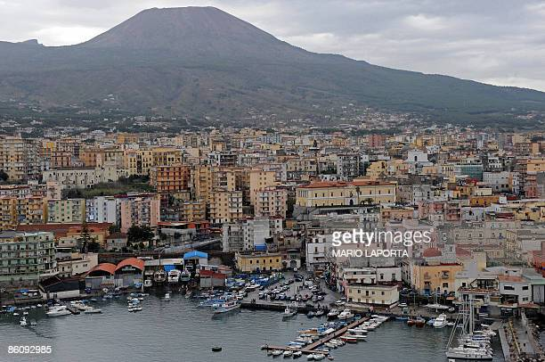 File picture of an aerial view of Torre del Greco one of the villages inside the 'red zone' near the mount Vesuvius volcano is seen near the Italian...