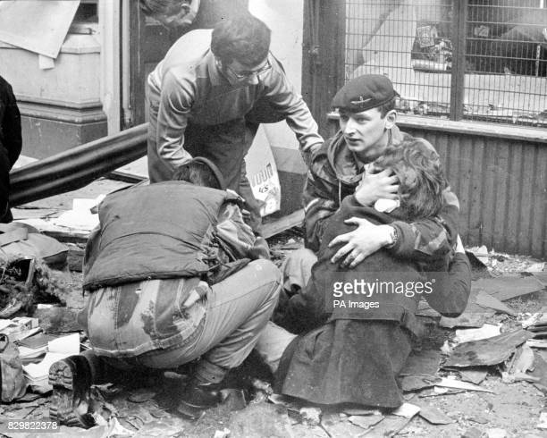 File picture of members of the Parachute Regiment comforting bomb victims in Belfast in 1972 It was announced today that the regiment is to quit...
