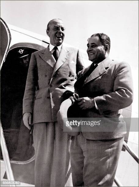 File picture of the slain United Nations mediator in charge of IsraeliArab conflict Count Folke Bernadotte of Sweden with the US diplomat Dr Ralph...