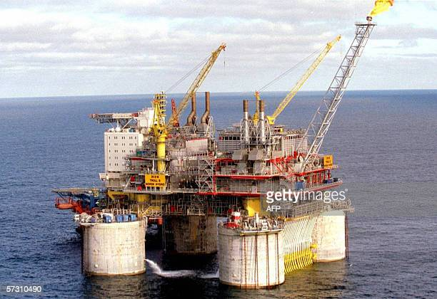 File picture showing an aerial view of a Norwegian oil production platform Troll B in the North Sea taken in 1995 The price of Brent North Sea crude...
