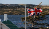 A file picture take March 19 2007 shows a Union Flag flyinf over Stanley in the Falkland Islands The Falkland Islands will vote in a referendum on...