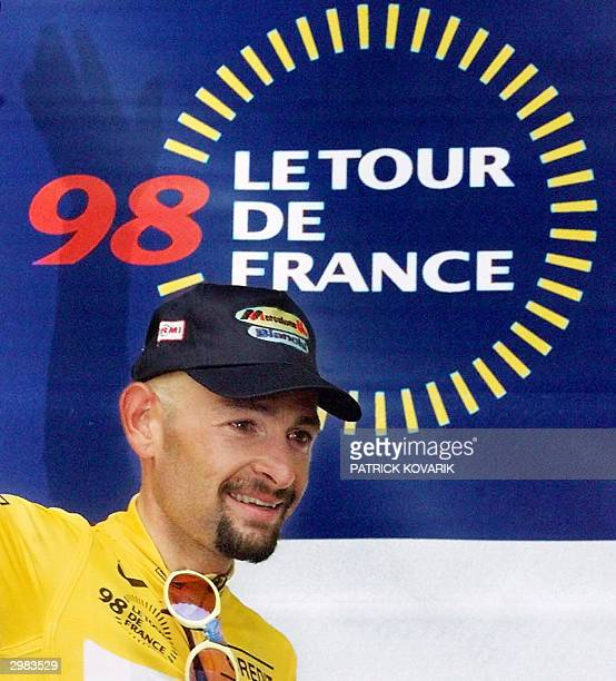 File picture taken 01 August 1998 of Marco Pantani on the podium of the 20th stage of the Tour de France in Le Creusot central France Former Tour de...