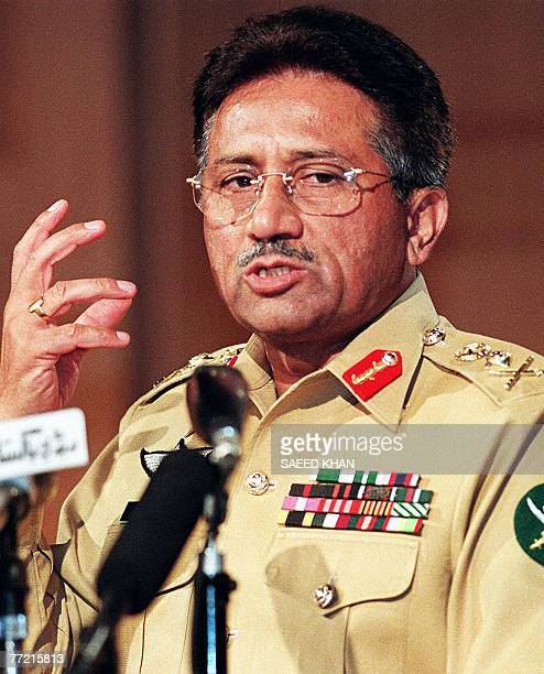 WITH 'PAKISTANVOTEMUSHARRAF' File picture taken 01 November 1999 shows Pakistan's military ruler General Pervez Musharraf during his first press...