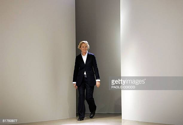 A file picture taken 01 October 2004 shows German designer Jil Sander appearing on the catwalk at the end of the presentation of her Spring/Summer...