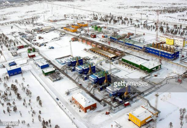 A file picture taken 02 November 2006 shows industrial buildings of Russian Gazprom interprise Vyngayakhinsky gas fields some 200 km outside...