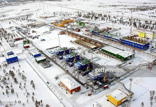 File picture taken 02 November 2006 shows industrial buildings of the Russian Gazprom enterprise in Vyngayakhinsky gas fields some 200 km outside the...