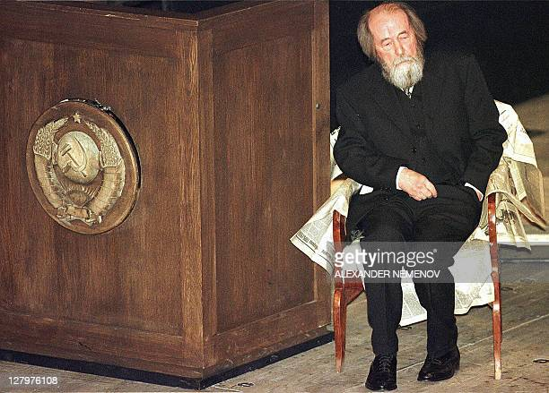 A file picture taken 11 December 1998 shows Russian author and Nobel laureate Alexander Solzhenitsyn sitting on the stage of the Theatre Na Taganke...