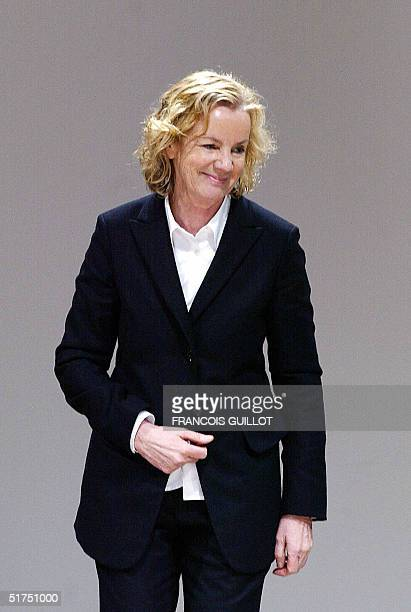 A file picture taken 26 February 2004 shows German designer Jil Sander smiling on the catwalk at the end of the presentation of her Autumn/Winter...