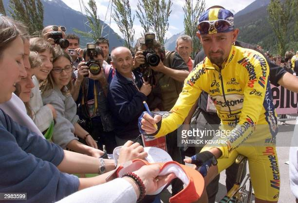File picture taken 29 May 2000 in Bornio of Marco Pantani signing autographs before the 15th stage of the Italy tour Former Tour de France winner...
