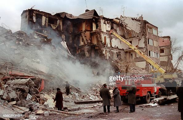 A file picture taken on December 13 after devastating earthquake shows rescuers working in Leninakan the second largest city in Armenia around 125 km...