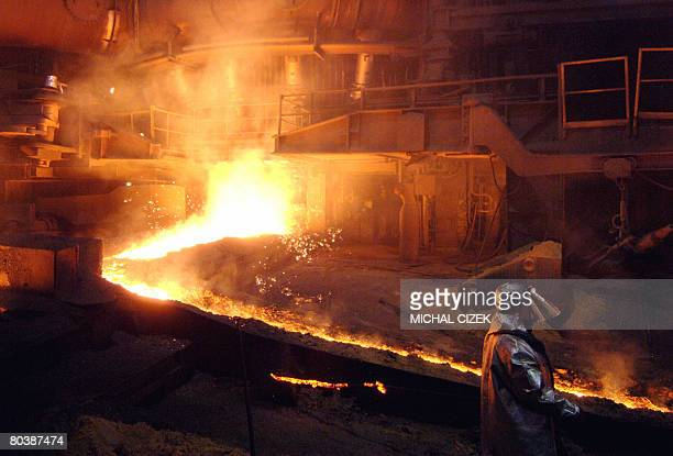 File picture taken on February 12 2007 showing a worker at a steel and iron factory in Mittal Steelworks in Ostrava city North Moravia The Czech...