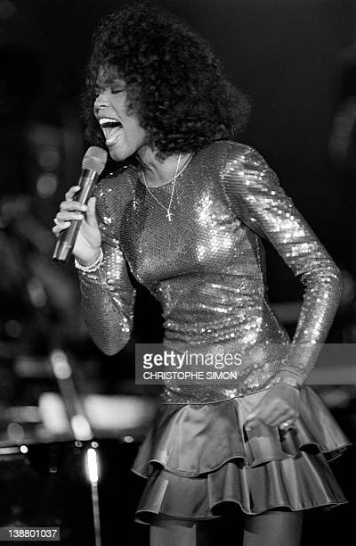 A file picture taken on July 03 1988 in Monaco shows US singer Whitney Houston performing at the Monte Carlo Sporting Club Grammywinning pop legend...