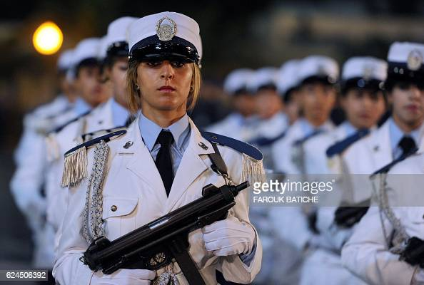 A file picture taken on July 22 shows Female members of the Algerian police forces parading during a ceremony marking the fiftieth anniversary of the...