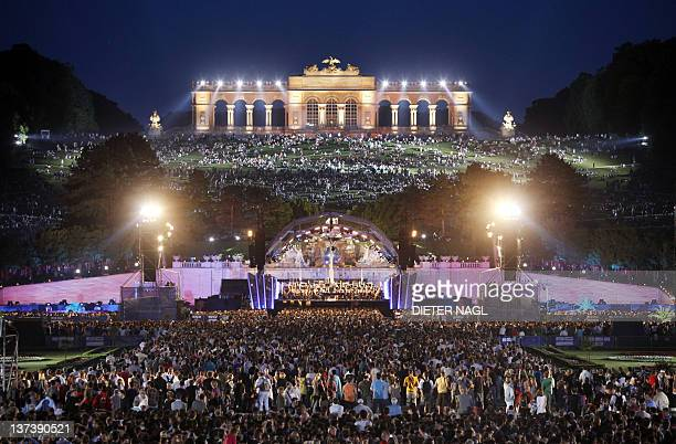 A file picture taken on June 8 2010 in Vienna shows the Schoenbrunn Palace as some 150 000 people listen the Vienna Philharmonic Orchestra during an...